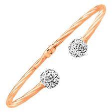 Crystaluxe Bangle Bracelet with Swarovski Crystals 14K Rose Gold Sterling Silver