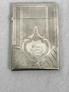 "Card Case. American Coin Silver. Mid 19th Century. 3-3/4"" by 2-1/2"""