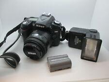 Nikon D D90 12.3MP Digital SLR Camera - Black (Kit Case + flash + lens)