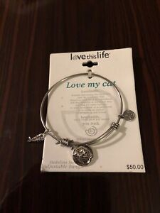 New Love This Life Stainless Steel Adjustable Bangle Bracelet Cat Fish