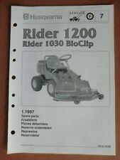 HUSQVARNA Rasentraktor Rider1200 1030 BioClip Ersatzteilliste parts list 1997
