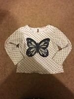 Girls White Butterfly Sequin Top Age 2-3 Years