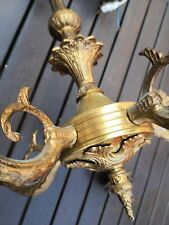 Antique French Bronze Brass Chandelier 5 Arm Ceiling Light shabby chic