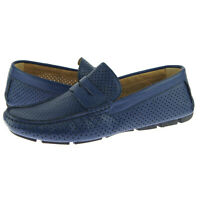 """Alex D """"Dover"""" Perforated Moccasin Driver, Men's Casual Leather Shoes, Blue"""
