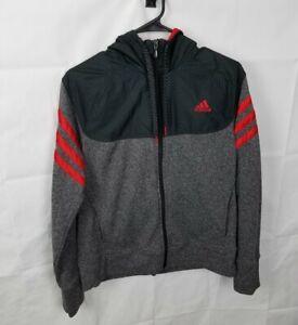 Adidas Hooded Fleece Full Zip Up Jacket Grey Black Active Womens Size Large
