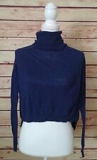Theory Womens Small Blue Cashmere Cropped Long Sleeve Turtle Neck Sweater Top