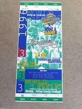WORLD SERIES FULL UNUSED TICKET - 1996 - Gm 3 - YANKEES BRAVES - JETER RIVERA