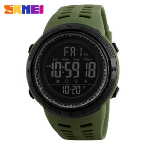 SKMEI 1251 Men's Watch Dual Time 5ATM Military Digital Wristwatches Army Green