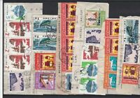 Selection of Used China Commemorative Stamps + Cancels on Paper Ref 32475