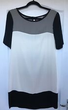 """Great Plains"" Colour Block Dress, Size XS, Grey/Ivory/Black, Fully Lined"