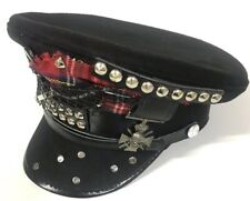 Gothic Punk Skull Badges & Studs Black Wool Military Hat In 57,58,59 Cm