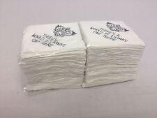 More details for 2ply paper napkins serviettes 24cm x 24cm white misprinted cocktail beverage