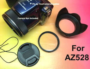 FLOWER HOOD+UV FILTER+LENS CAP fits DIRECTLY TO CAMERA KODAK PIXPRO AZ528 AZ 528