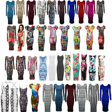 New Ladies Celebrity Kardashian Stripe Print Long Sleeve Bod ycon Midi Dresses