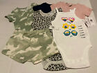 Lot of 6 NWT Old Navy Baby Clothes 6-12M camo pink 1pc short Girls Snap
