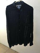 Comme Des Garcons Shirt Semi-Sheer Cupro Striped Cross Motif Shirt S