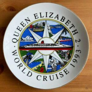 QUEEN ELIZABETH 2 - WORLD CRUISE 1993 DECORATIVE PLATE (21.5cm)