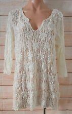 Mela Purdie Top Size 16 White Cream Floral Lace Three-quarter Sleeve Stretch
