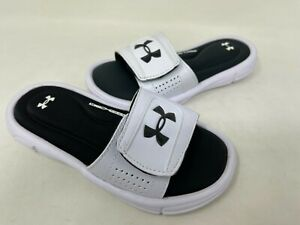 NEW! Under Armour Youth Boy's Ignite V Slides White/Black #1287320 126WX tz