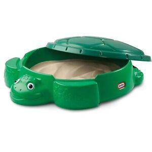 Kids Outdoor Sandbox Little Tikes Turtle Sand Box Molded Green Seat Backyard Fun