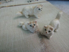 Ceramic white Persian kittens, set of 3, tiny minitures doll house