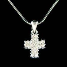 ~Dainty Cross~ made with Swarovski Crystal Jesus Christ Bridal Necklace Xmas NEW