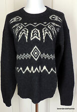 Parker Of Vienna L Mens Deep Charcoal Gray & White Shetland Wool Sweater