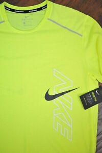 NWT Nike Dri-Fit Breathe Rise 365 SS Running Shirt Neon Yellow Men's Medium M