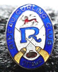 Vintage Curling Club Pin -  Rideau Curling Club Ottawa Stamped Sterling RMC