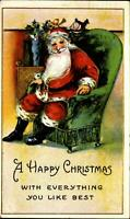 Santa Claus sitting large green chair~stockings toys~embossed mailed 1916
