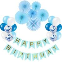 Blue Happy Birthday Decorations Set Birthday Banner Confetti Balloons 23pc Kit