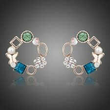 18K Rose GP Multicolour Made With Swarovski Austrian Crystal Round Stud Earrings