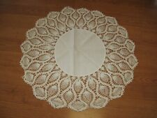 "24"" round vintage crochet crocheted with cotton center doilies cream / off white"