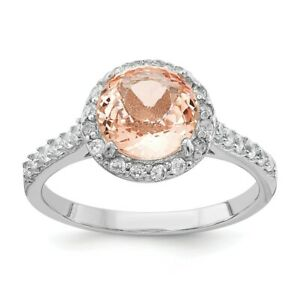 925 Sterling Silver Cubic Zirconia Cz Simulated Pink Morganite Band Ring