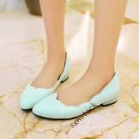 Women's Fashion Flats Pull On Low Heels Pumps Soft Pu Leather Casual Shoes Size