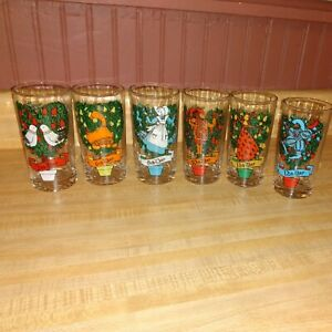 6 VTG TWELVE DAYS OF CHRISTMAS # 2,6,8,10,11 & 12 Replacement Tumblers 12 oz