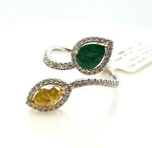 Real 1.65ct Natural Green Emerald & Diamonds Engagement Ring 18K Solid Gold