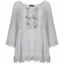Ladies White Lace Trimed Layered Silver Sequin Tie Front Bell Sleeve Blouse/Top