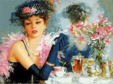 """16x20"""" DIY Paint By Number  Kit Oil Painting On Canvas  Elegant Girl drinking Te"""