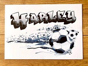 Personalised A4 Graffiti Football Poster Gift Teens Wall Decor NO FRAME