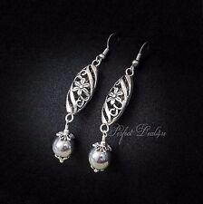 Silver Filigree Earrings Long Dangle Hematite Tibetan & 925 sterling silver hook
