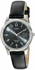 Timex T29321, Men's Easy Reader Black Leather Watch, Indiglo, Date