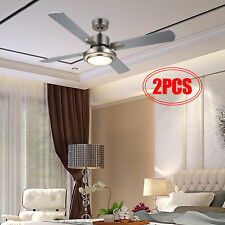 """2pcs 52"""" Ceiling Fan Light Brushed Nickel Finish w/ 15W Led & Remote Ul Listed."""