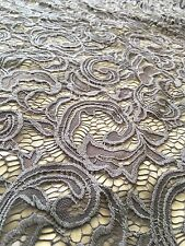 "Grey Lace Fabric - Floral Stretch Lycra - 60"" Wide - Per Meter"