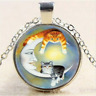 Cat With Moon Cabochon Glass Tibet Silver Chain Locket Pendant Necklace