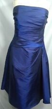 B2 womens dress iridescent blue strapless draped cocktail prom 16 boning lined