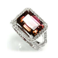 6.6 cttw Natural RubeliteTourmaline & Diamond 14k White Gold Halo Cocktail Ring