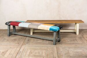 150CM HANDMADE PINE RUSTIC BENCH WITH A PAINTED BASE MORE SIZES AVAILABLE