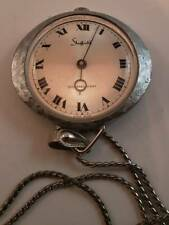 "Vintage Sheffield Silver Tone Pendant Watch 23"" Chain Necklace Swiss Made Works"
