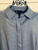 LANE BRYANT Blue & White Striped L/S Button Down Blouse/Top Womens Size 14